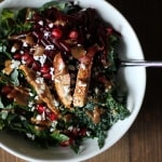 Chili Chicken Kale Salad with pomegranate seeds, pecans, goat cheese, and cinnamon dijon vinaigrette