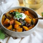 Fall Harvest Vegetarian Chili with Butternut Squash, Sweet Potato, Apples, and Soy Beans #SoyInspired #sponsored #ad