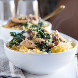 Garlicky Spaghetti Squash with Chicken, Mushrooms, and Kale - paleo, whole30, keto, and easy to make for a healthy dinner recipe