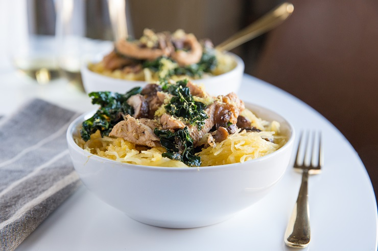 Spaghetti Squash with Chicken, kale, mushrooms, garlic and onion - a healthy low-carb dinner recipe