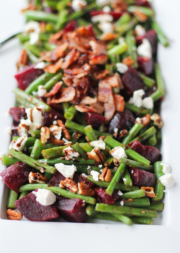 Green Beans and Beets with Bacon, Goat Cheese, Pecans, and Balsamic Reduction