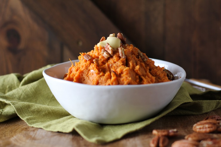 Maple-Bourbon Mashed Sweet Potatoes - a fun and festive holiday side dish | TheRoastedRoot.net #glutenfree #vegetarian #healthy