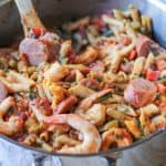 One Pot Shrimp Gumbo Pasta | TheRoastedRoot.net #dinner #recipe #glutenfree
