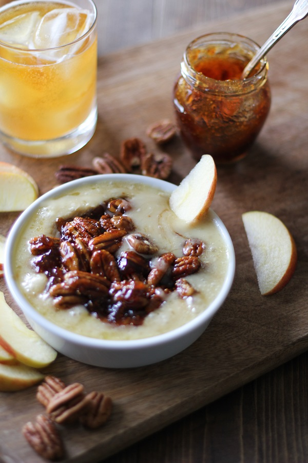 Boozy Baked Brie with Fig Spread and Pecans