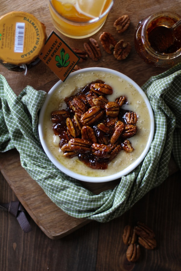 Boozy Baked Brie with Fig Spread and Pecans @savorevrymomnt