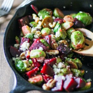 Honey-Glazed Brussels Sprouts and Beets with walnuts and gorgonzola - a healthy side dish