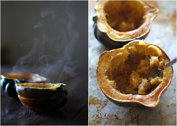 Roasted Acorn Squash with Bourbon Butter and Honey @roastedroot