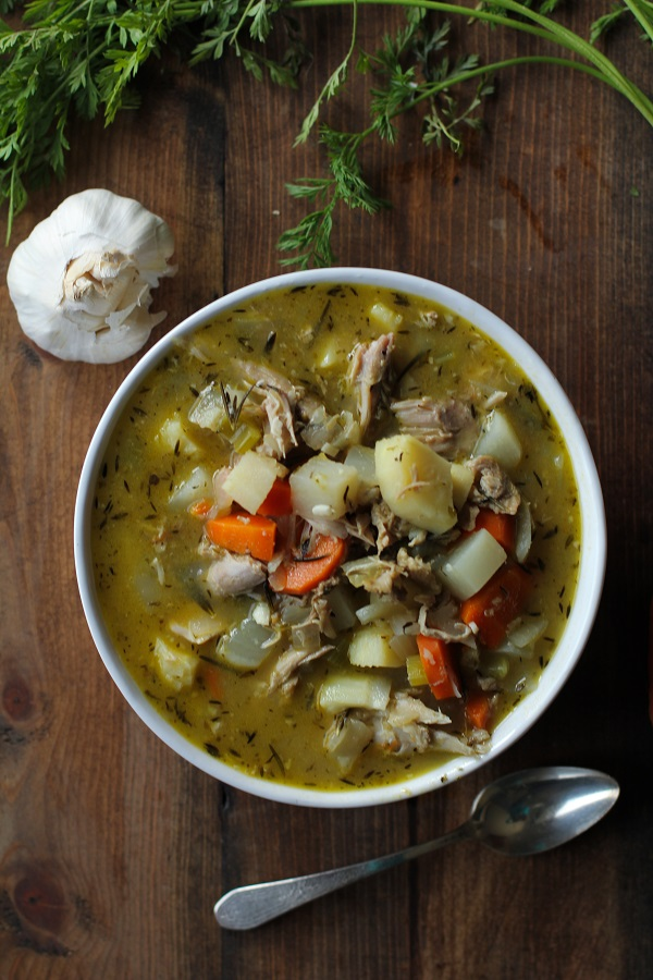 Turkey Soup with Root Vegetables - made using leftover Thanksgiving turkey!