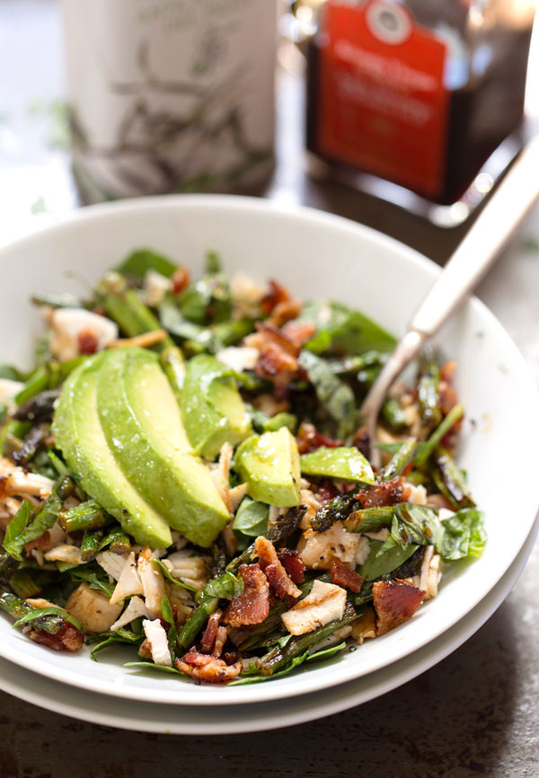 Chicken Bacon Avocado Salad with Roasted Asparagus from Pinch of Yum