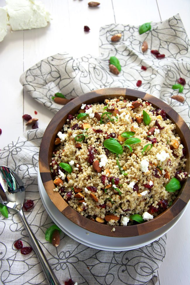 Cranberry & Smoked Almond Quinoa Salad with Balsamic Vinaigrette from The Housewife in Training