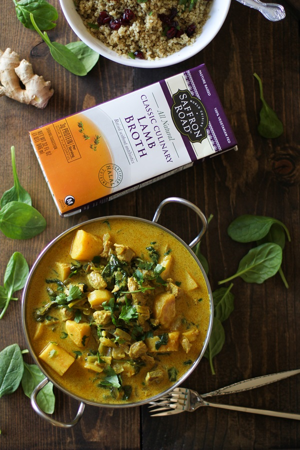 Crock Pot Parsnip and Lamb Curry with Spinach - an easy slow cooker meal! #paleo #slowcooker #recipe @roastedroot @saffronroadfood