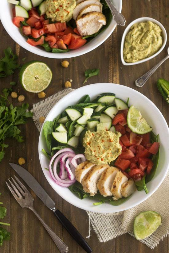 Hummus Chicken Power Salad from Food Faith Fitness