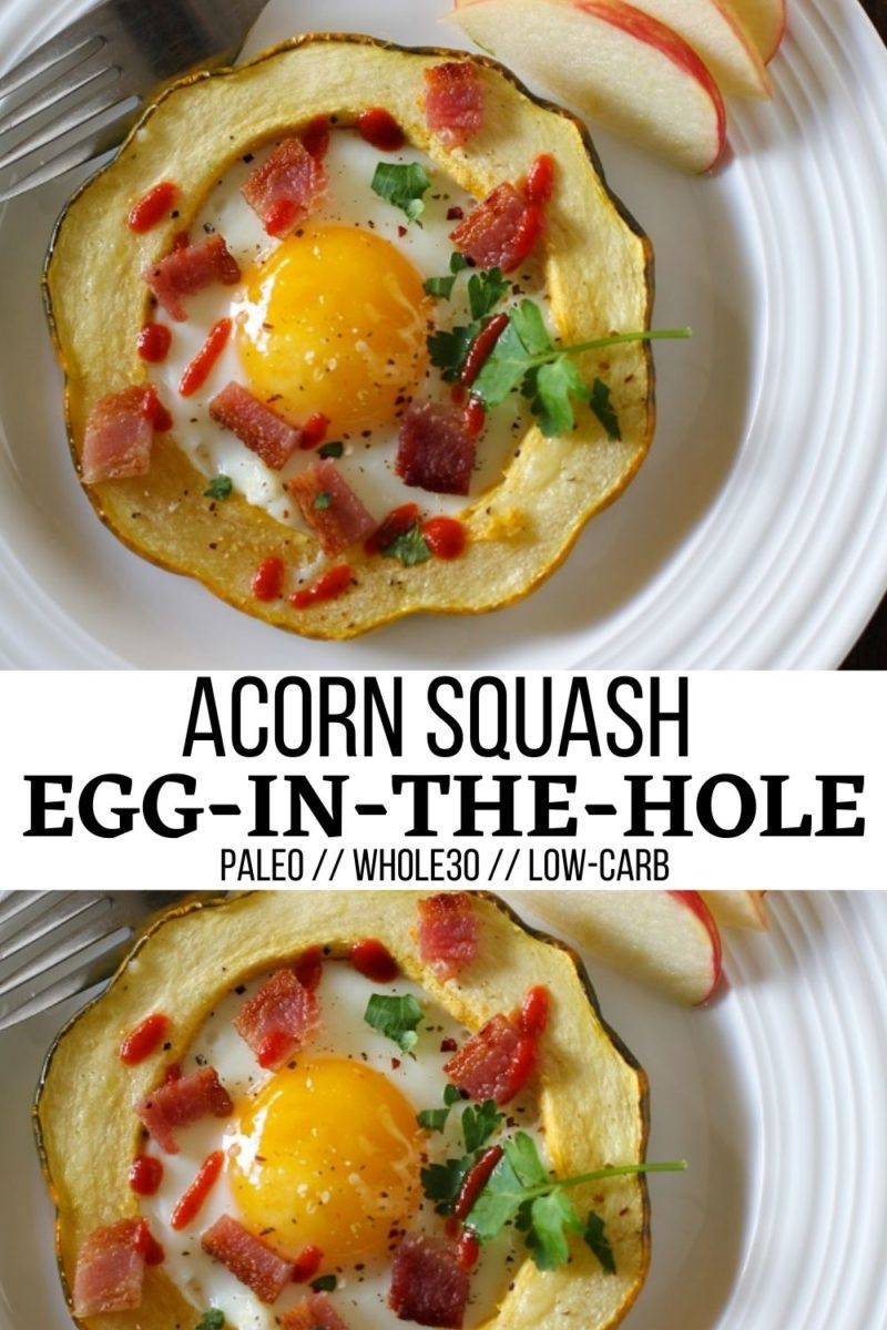 Acorn Squash Egg-in-the-Hole is loaded with nutrients for a healthy breakfast! Paleo, low-carb, whole30 and delicious!