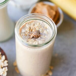 Almond Butter Protein Smoothie with chia seeds, banana, and oats