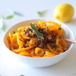 Butternut Squash and Prosciutto with Lemon Garlic and Sage | theroastedroot.net @roastedroot #glutenfree #pasta #recipe #paleo