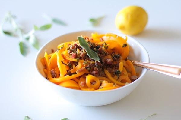 Butternut Squash and Prosciutto with Lemon Garlic and Sage | theroastedroot.net @roastedroot #glutenfree #pasta #recipe #paleo