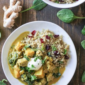 Crock Pot Lamb and Parsnip Curry with Spinach - an easy go-to dinner recipe that's packed with aromatic flavor