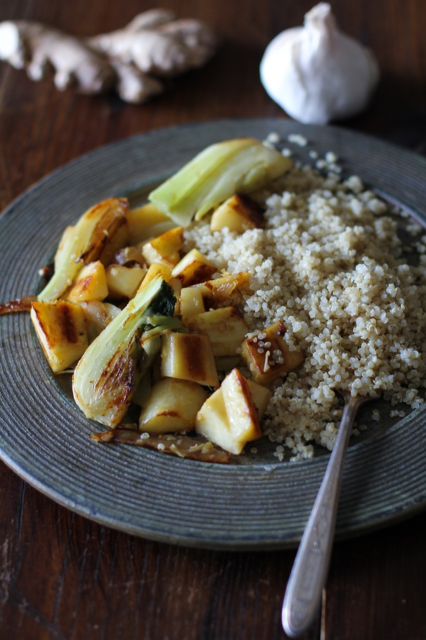 Fennel and Parsnip Stir Fry with Quinoa - an easy vegetarian meal that can be made any night of the week @roastedroot