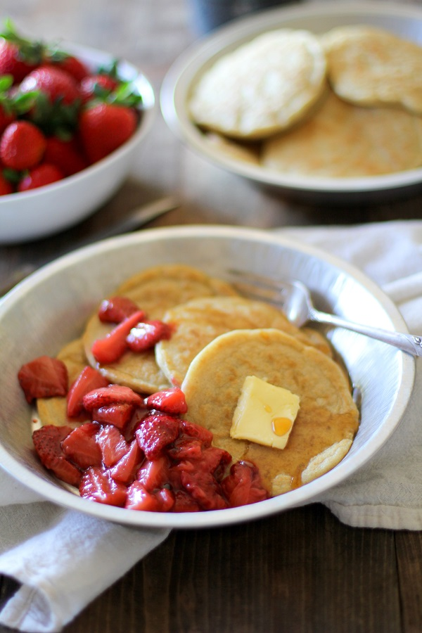 Overnight Yeast Pancakes with Strawberry Topping - gluten free and sugar free! @redstaryeast @roastedroot