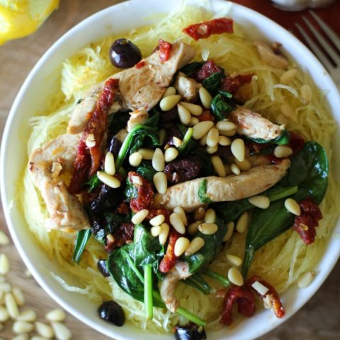 Greek-Style Spaghetti Squash with Chicken, Spinach, Kalamata Olives, and Sun-Dried Tomatoes