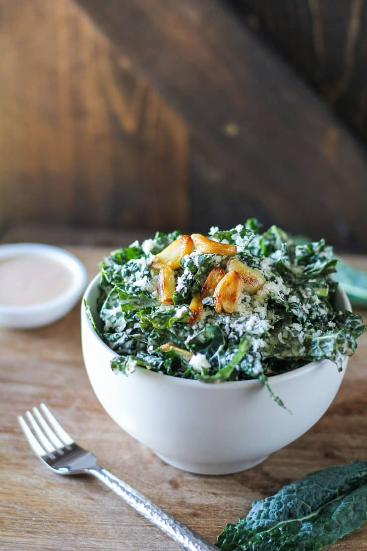 Spicy Kale Caesar Salad with Roasted Garlic - a healthier nutritious caesar salad recipe