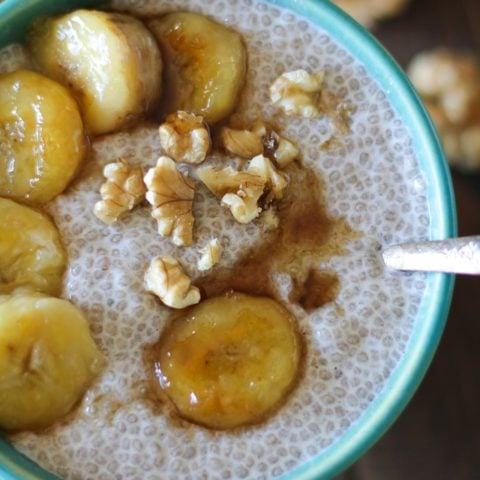 Bananas Foster Chia Seed Pudding - a healthy dessert made cane sugar free! #paleo #glutenfree