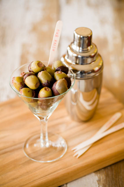 Chocolate Love Bombs (chocolate-covered olives)