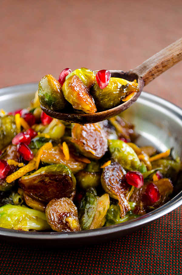 Citrus Caramelized Brussels Sprouts with Pomegranate from Give a Recipe