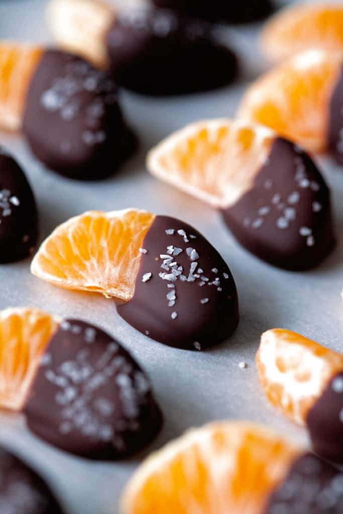 Salted Chocolate Dipped Mandarins from Deliciously Yum