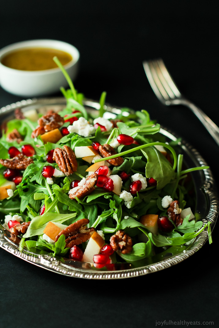 Pomegranate, Goat Cheese, and Candied Pecan Arugula Salad