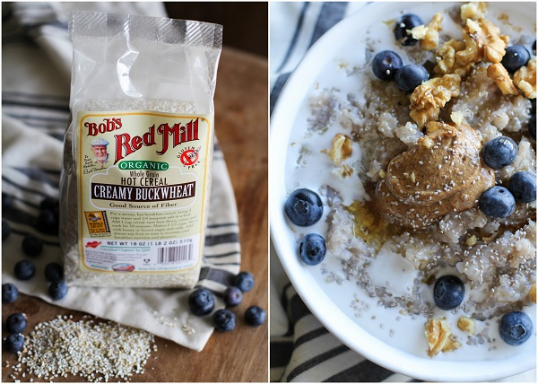 Superfood Blueberry Buckwheat Porridge with walnuts, chia seeds, almond butter, and coconut milk | theroastedroot.net #paleo #glutenfree #sugarfree #breakfast #recipe @bobsredmill @roastedroot