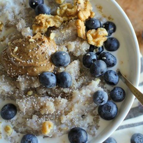 Superfood Blueberry Buckwheat Porridge with walnuts, chia seeds, almond butter, and coconut milk | theroastedroot.net #paleo #glutenfree #sugarfree #breakfast #recipe @bobsredmill @roastedroot