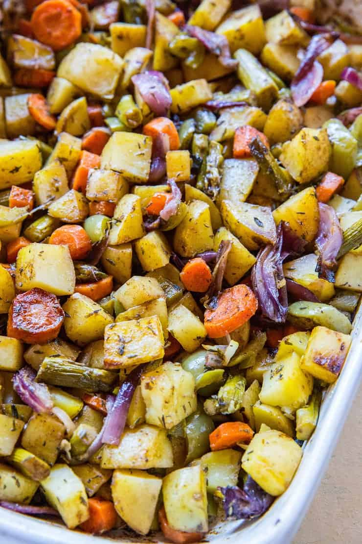 Big Batch Balsamic Roasted Vegetables - delicious roasted vegetables to share with the whole family | TheRoastedRoot.net