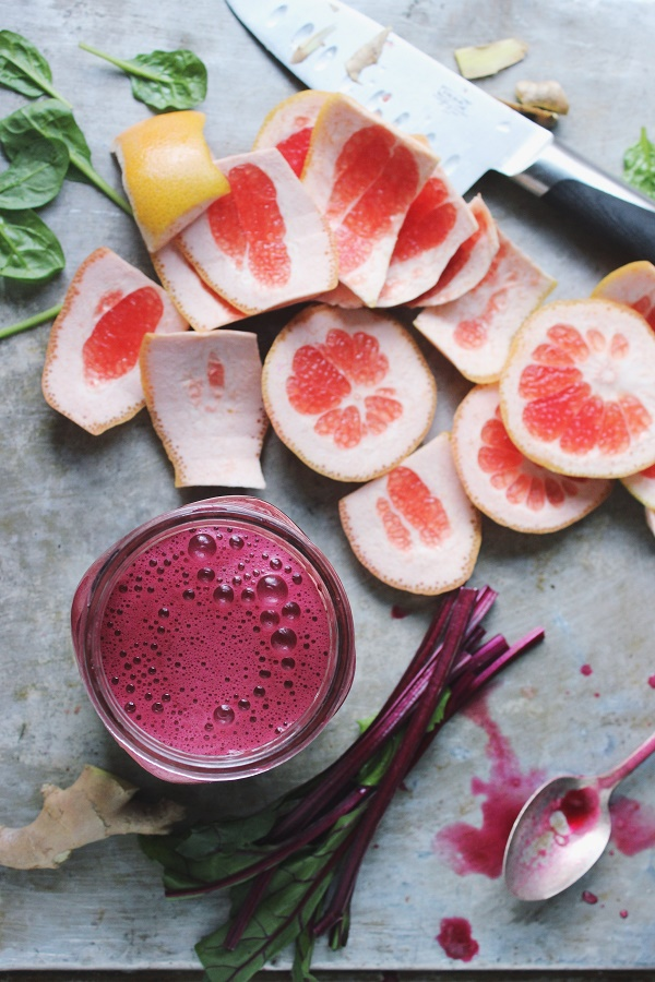Beet Grapefruit Green Juice from With Food and Love