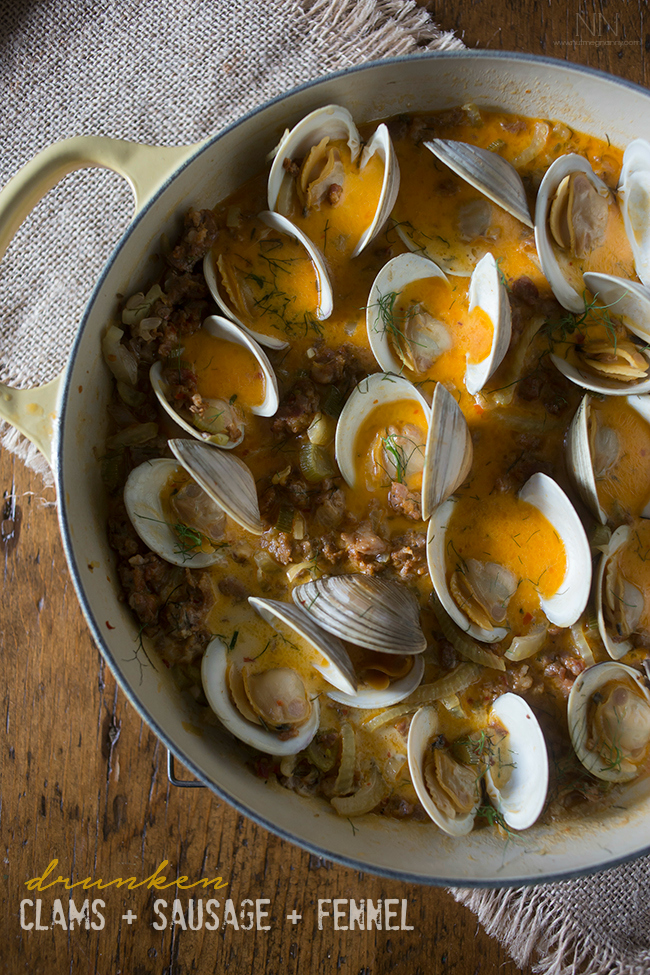 Drunken Clams with Sausage and Fennel from Nutmeg Nanny