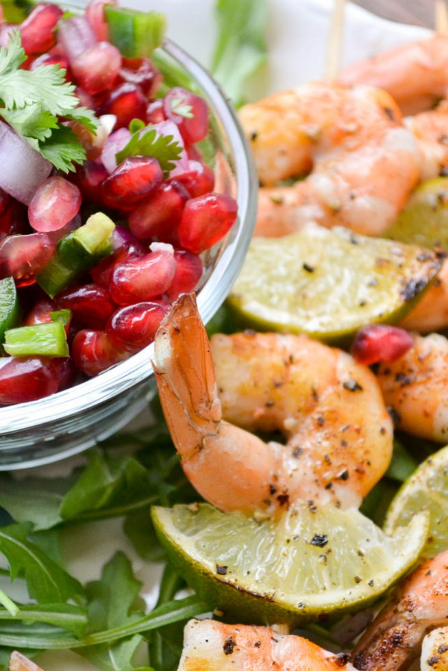 Grilled Shrimp Skewers with Pomegranate Salsa from The View from Great Island
