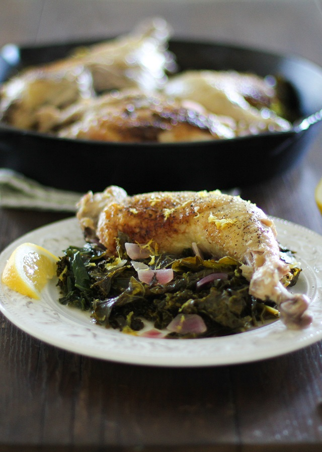 Lemony Braised Chicken with Kale