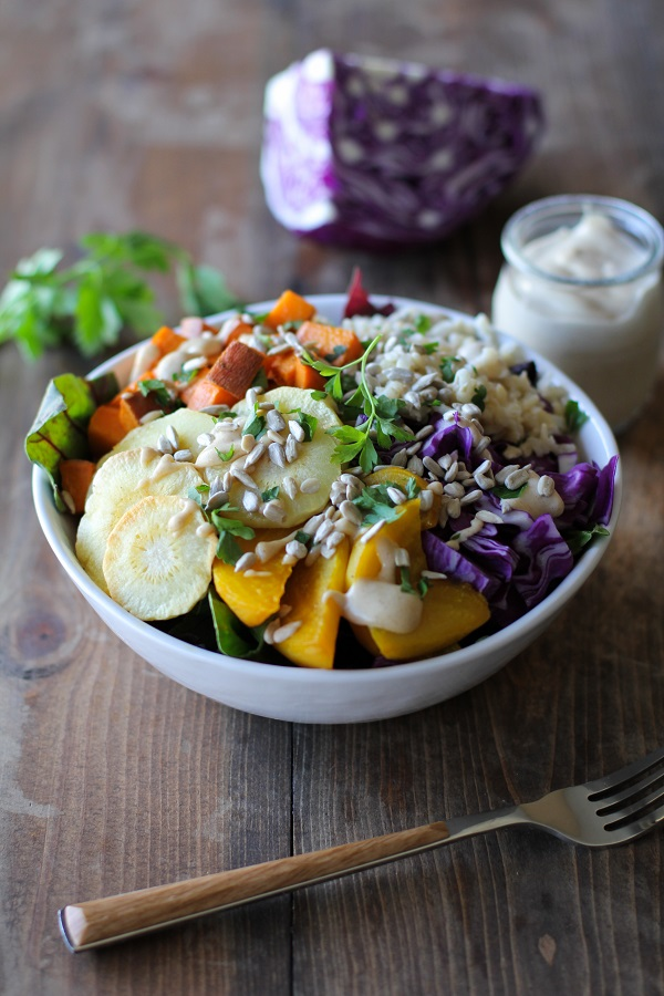 Roasted Root Vegetable Buddha Bowls with Maple Cinnamon Tahini Dressing | theroastedroot.net #vegan #recipe #eattherainbow