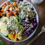 Roasted Root Vegetable Buddha Bowls with Maple Cinnamon Tahini Dressing | theroastedroot.net #vegan #recipe #eattherainbow