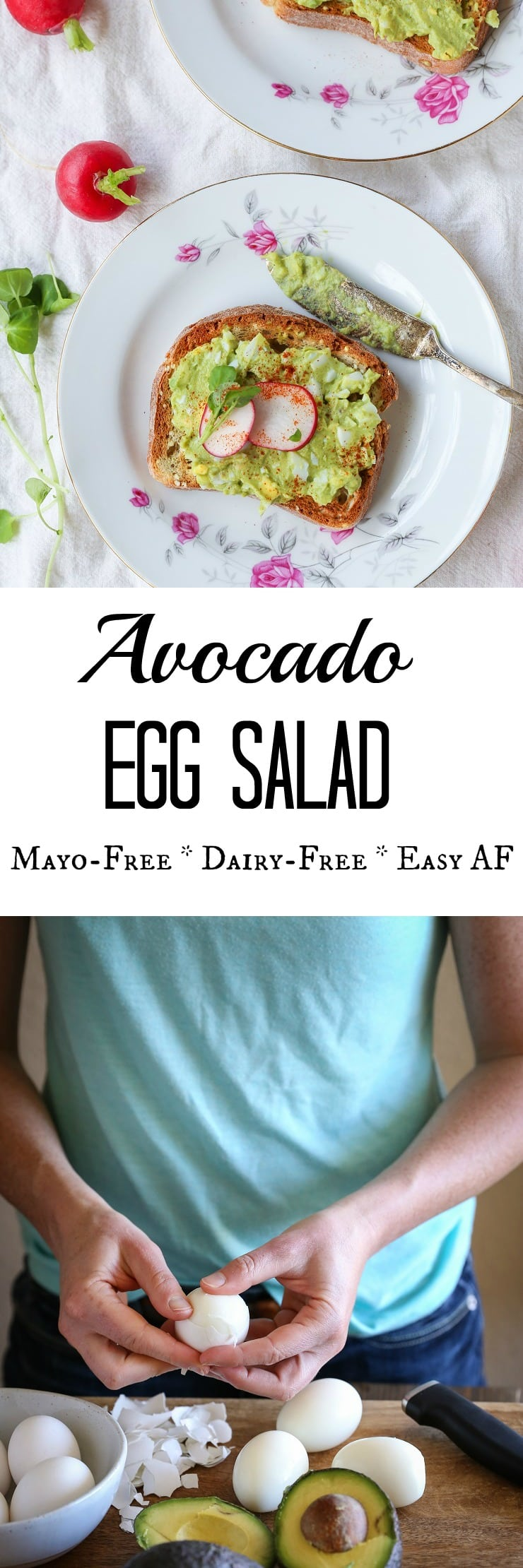 Avocado Egg Salad (Mayo-Free!) - an easy 4-ingredient lunch recipe | theroastedroot.net #glutenfree #dairyfree #healthy