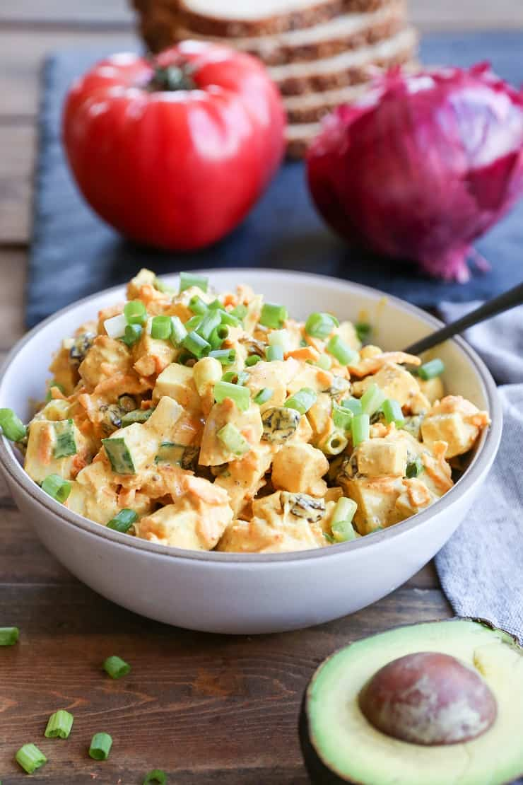 Curried Chicken Salad - a healthier version of classic chicken salad - perfect for lunches!