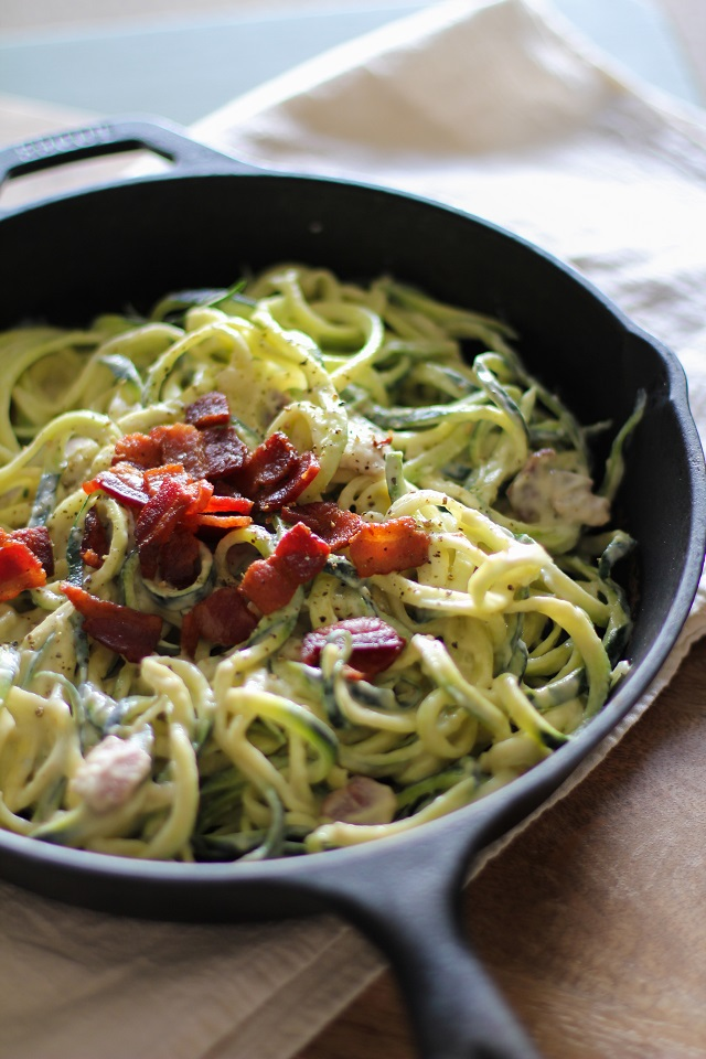 Dairy-Free Zucchini Carbonara - a healthful lightened up carbonara recipe made with cauliflower #glutenfree #dairyfree #paleo #zoodles