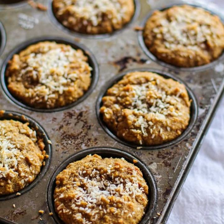 Grain-Free Carrot Cake Muffins (paleo) made with almond flour for a healthy breakfast or treat | TheRoastedRoot.com