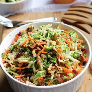 Grated Broccoli Salad with Carrots, Apples, and Warm Bacon Dressing