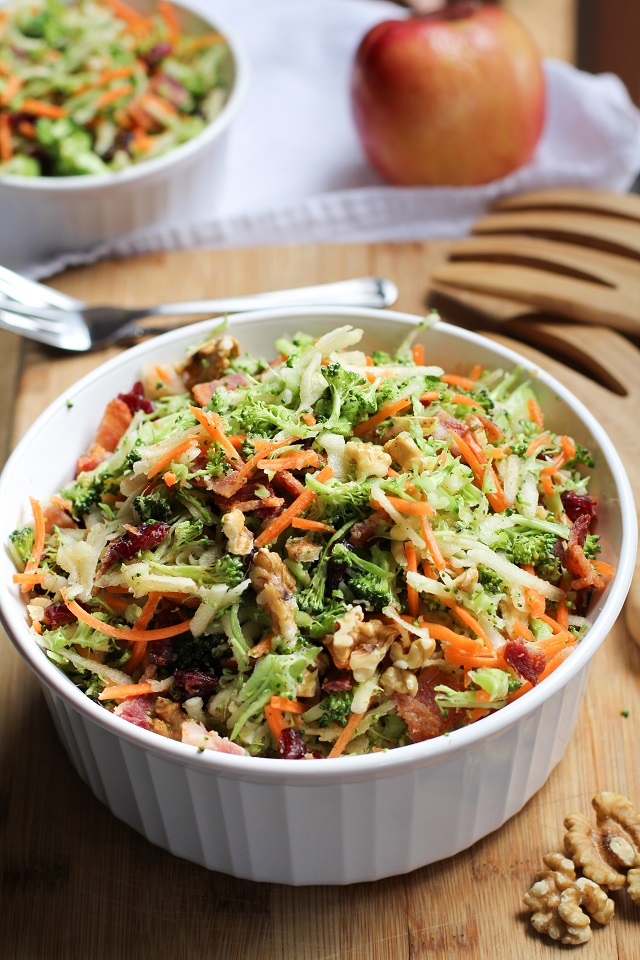 Grated Broccoli Salad with carrots, apples, dried cranberries, walnuts, and warm maple bacon vinaigrette.