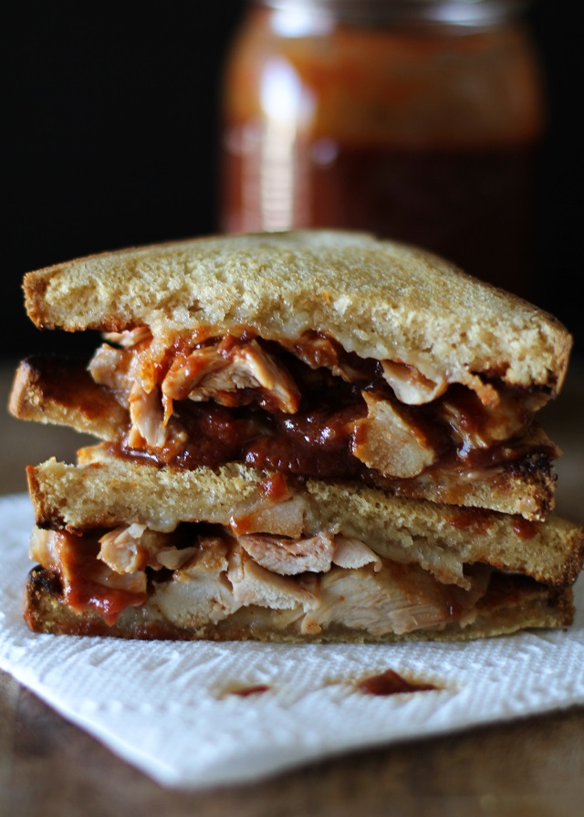 Grilled Chicken BBQ Grilled Cheese Sandwich with Maple Bourbon Barbecue Sauce