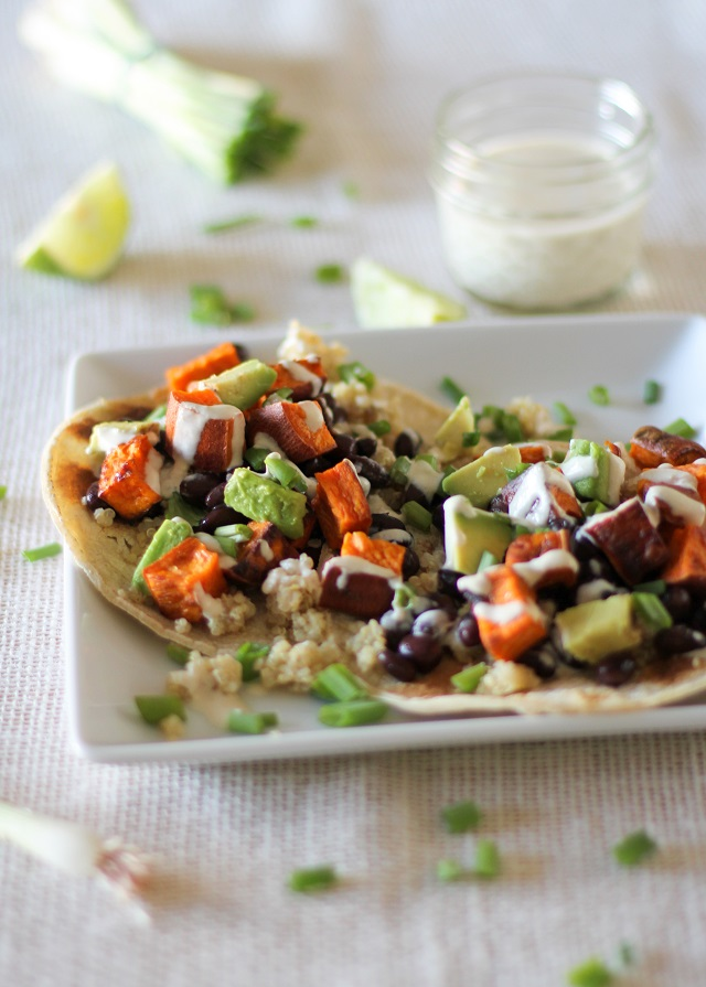 Sweet Potato, Black Bean, and Quinoa Tacos with Avocado and Lemon Tahini Sauce #vegetarian #vegan #meatlessmonday