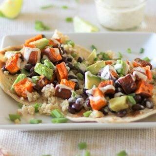 Sweet Potato, Black Bean, and Quinoa Tacos with Avocado and Lemon Tahini Sauce #vegetarian #vegan #meatlessmonday