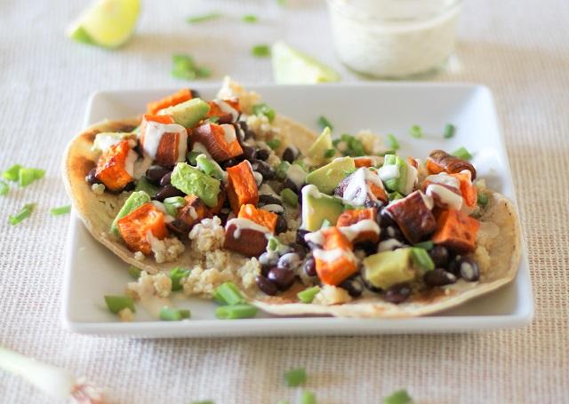 Sweet Potato Black Bean And Quinoa Tacos With Avocado And Lemon Tahini Sauce