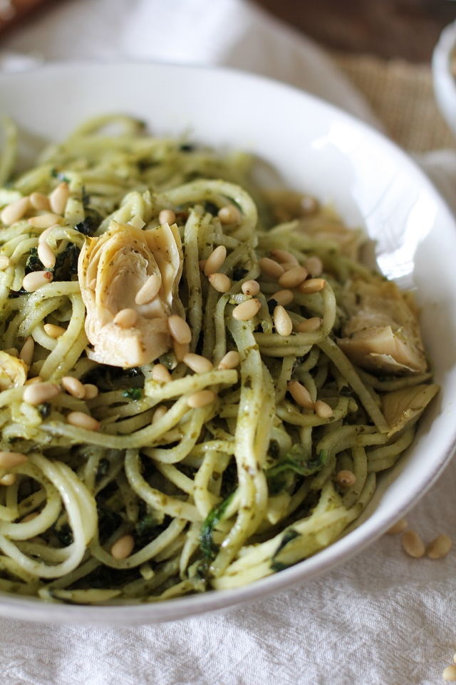 Turnip Pesto Pasta with Artichoke Hearts, Kale, and Pine Nuts - spiralize turnips for a comforting yet healthy meal! | theroastedroot.net #paleo #vegan #vegetarian #healthy #dinner #recipe @roastedroot